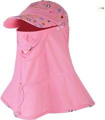sombrero sombreado completo para mujer con chal rosa