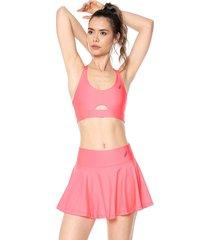 falda flans rosa