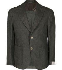 eleventy green cotton-linen blend blazer