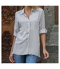 rayon blouse, 'tiara in grey' (indonesia)