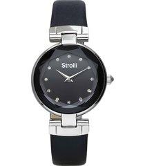 orologio solo tempo con cinturino in pelle nero, cassa in acciaio silver per donna