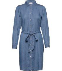 vibista denim belt dress/su - noos dresses shirt dresses blå vila