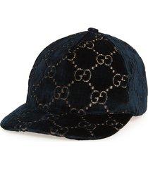 women's gucci logo embroidered velvet baseball cap - black