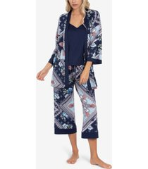 linea donatella robe, cami & capri 3pc pajama set