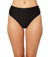 women's o'neill saltwater solids textured high waist bikini bottoms, size x-small - black