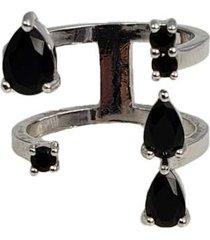 anel papillô joias ajustável gotas e ponto de luz, em ródio branco