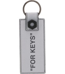 off-white quote key chain - silver