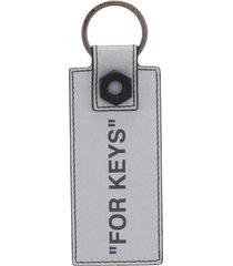off-white quote key chain - silver