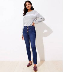 loft high rise slim pocket skinny jeans in staple dark indigo wash