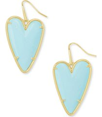 kendra scott 14k gold-plated gemstone heart drop earrings