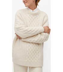 mango women's contrasting knit long sweater
