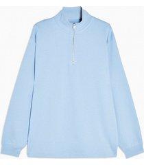 mens light blue 1/4 zip sweatshirt