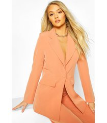 cut away button mix & match tailored blazer, coral
