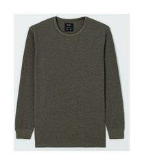 camiseta manga longa malha waffle | blue steel | verde | pp