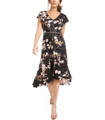 taylor petite flutter-sleeve high-low midi dress