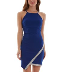 bcx juniors' rhinestone-detail asymmetrical bodycon dress
