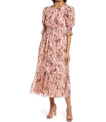 maggy london floral print smocked maxi dress, size 0 in soft peach/burgundy at nordstrom