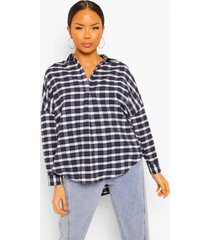 oversized geruite blouse met kraag, navy