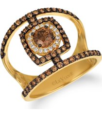 le vian chocolate diamond & vanilla diamond statement ring (1-1/8 ct. t.w.) in 14k gold
