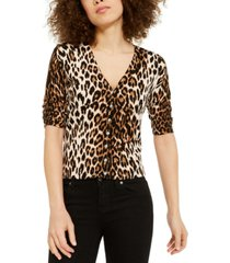 inc leopard-print cardigan sweater, created for macy's
