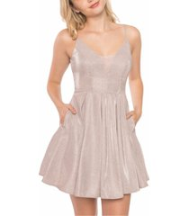 b darlin juniors' glitter mesh skater dress