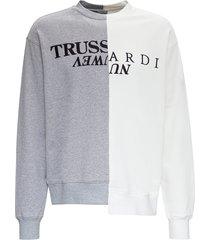 trussardi cut up sweatshirt in bicolor jersey with logo
