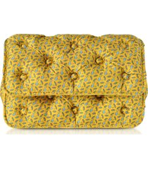 benedetta bruzziches designer handbags, sharks printed yellow satin silk carmen shoulder strap
