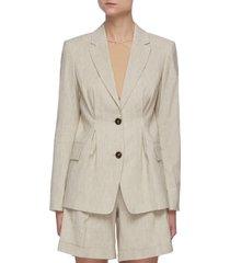 'madison' pintuck detail linen blend blazer