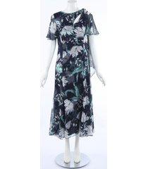 erdem kristie floral silk dress blue/floral print sz: l