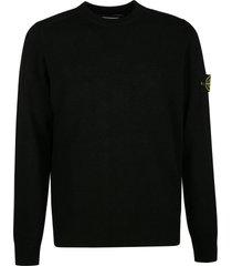 stone island logo patched plain knit sweater