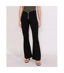 calça de sarja feminina flare cintura alta preta