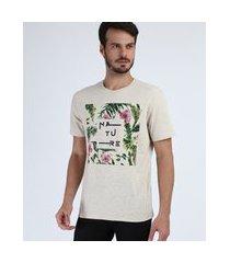 """camiseta masculina nature"""" folhagens manga curta gola careca bege"""""""