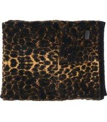 saint laurent leopard-print winter scarf - brown