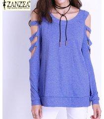zanzea blusa de las mujeres llanura hombro casual agujeros rasgados spirng o cuello de manga larga ahueca hacia fuera atractivo tops camisas blusas más el tamaño s-3xl (azul) -azul
