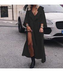 zanzea vestido de camisa larga de corte bajo con manga campana para mujer vestido largo de fiesta de noche dividida alta -negro