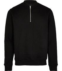 river island mens black long sleeve zip detail sweatshirt