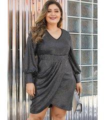 yoins plus size black glitter high-waisted dress