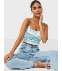 nly one satin smock crop top linnen