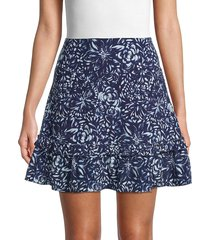 nicole miller women's floral-print silk-blend flared mini skirt - navy white - size l