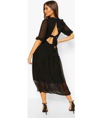 dobby spot open back smock midaxi dress, black
