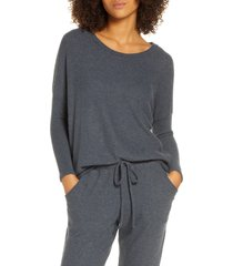 women's eberjey 'cozy time' slouchy long sleeve tee, size small - grey