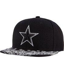 sombrero plano moda sombrero bordado estrella de cinco-negro
