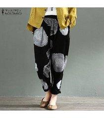 zanzea pantalones de harén para mujer rueda de árbol pantalones largos de algodón con lunares étnicos pantalones más -negro