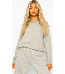 lange oversized sweater met ballonmouwen, grey