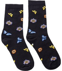 medias mariposas y girasoles negro largas mh sock