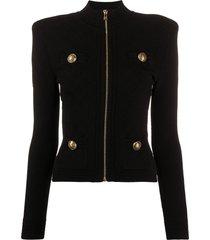 balmain buttoned ribbed-knit jacket - black