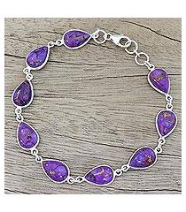 sterling silver link bracelet, 'purple cascade' (india)