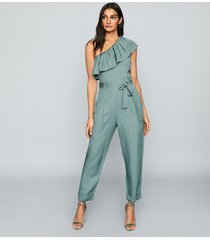 reiss madeline - one shoulder jumpsuit in green, womens, size 12