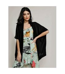 kimono de tricô feminino manga curta preto