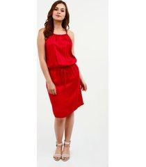 vestido con trenzado unicolor rojo persa 10